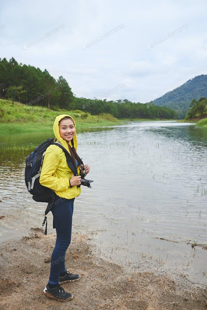 Pretty woman hiking