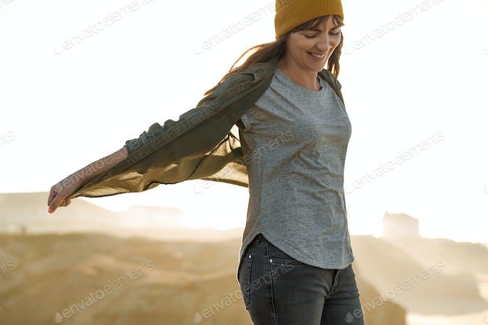 Gelbe Kappe Frauen