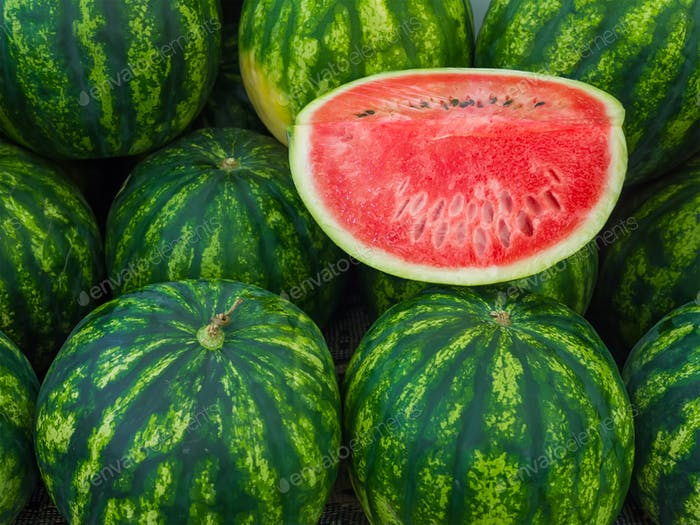 Watermelons on a market stall