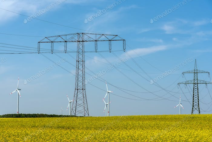 Power supply lines and some wind engines