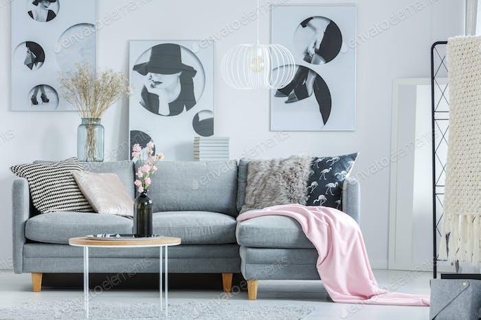 Rosa Decke auf grauem Sofa