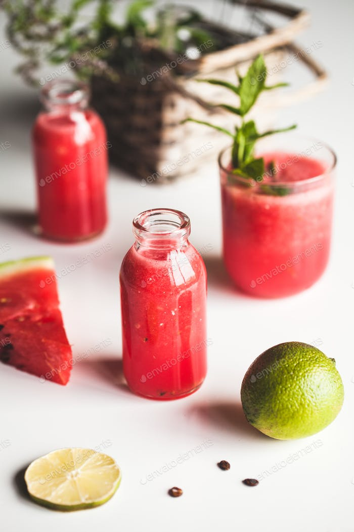 Watermelon juice with mint leaves and lime citrus