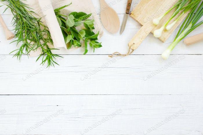 White Wooden Kitchen Background