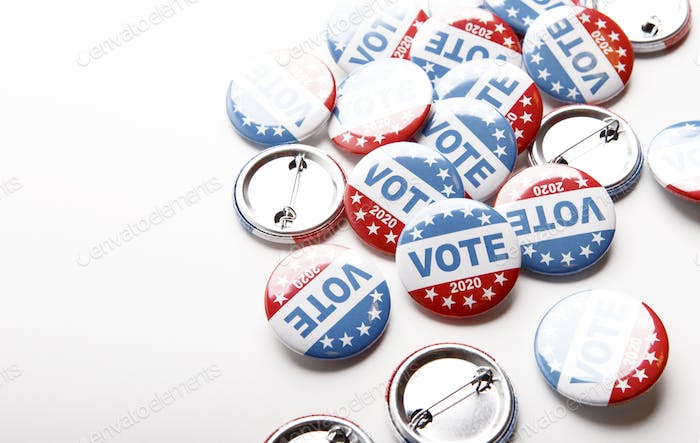 Vote election campaign button badges and the united states