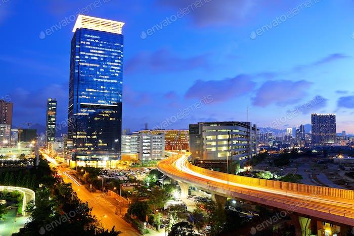 Hong Kong skyline with highway