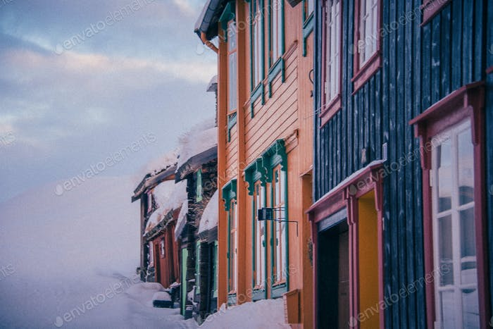 Houses in UNESCO Heritage town of Røros, Norway