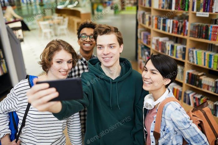 Selfie of students in book store