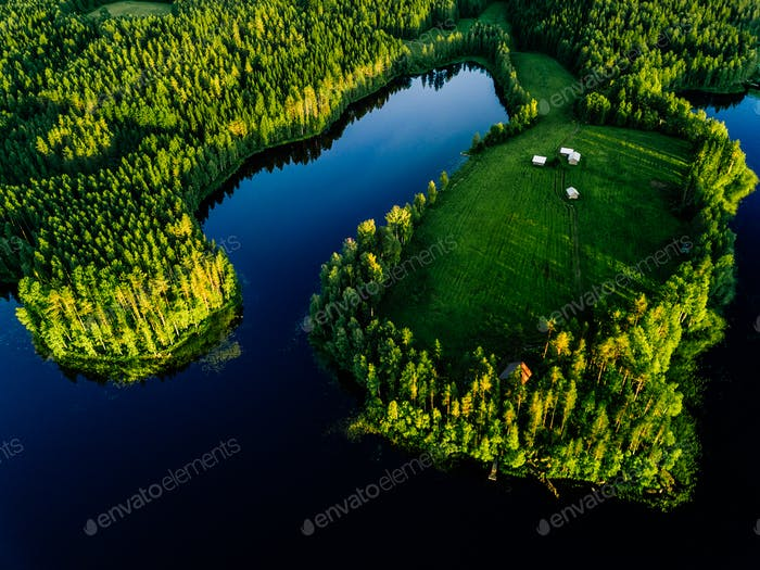 Aerial view of blue lakes and green forests on a sunny summer day in rural Finland.