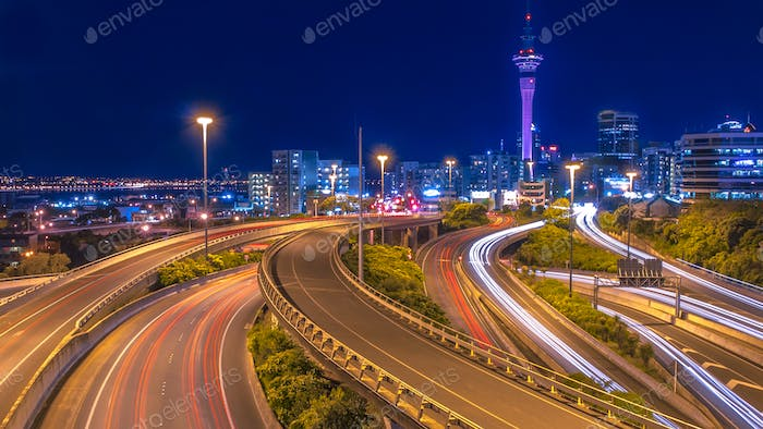 Night traffic in Auckland city New Zealand