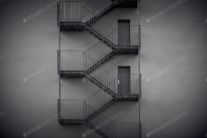 external fire escapes in a modern building
