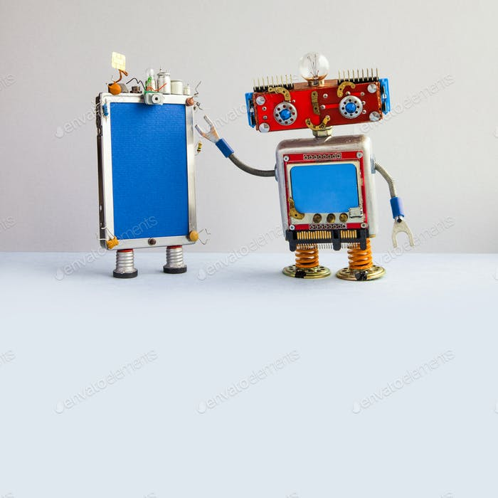 Smartphone and red head robot assistant. Creative design touch screen mobile phone device, light