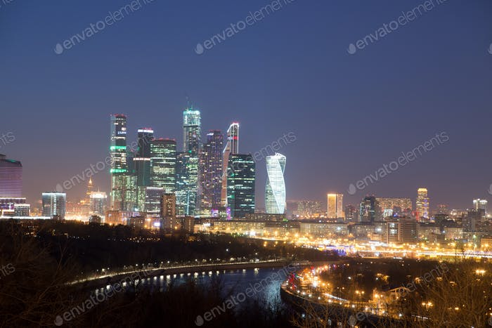 Moscow International Business Center at night. Moscow City