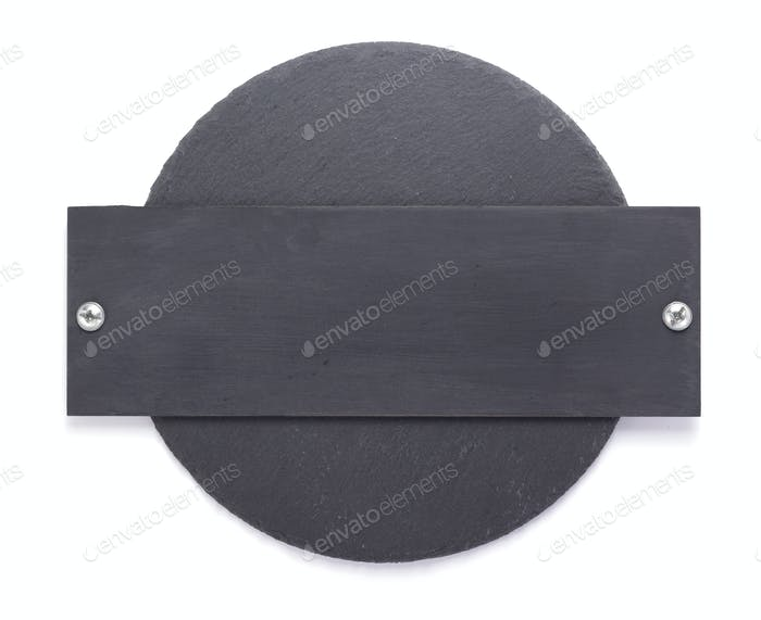slate stone tray on white background