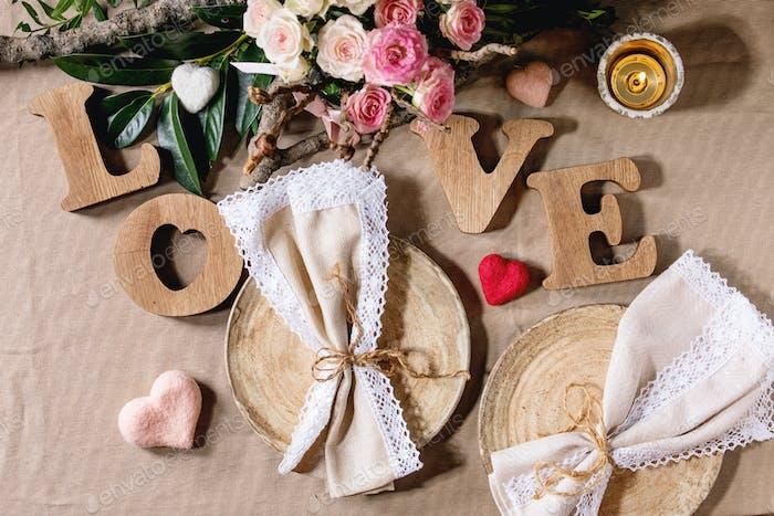 st. Valentinstag Tischeinstellung