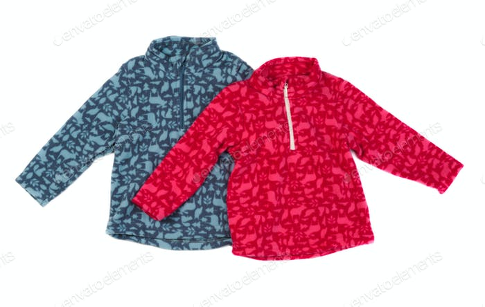 gray and red fleece jacket