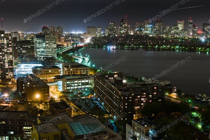 Back Bay and Cambridge Overcast Night View