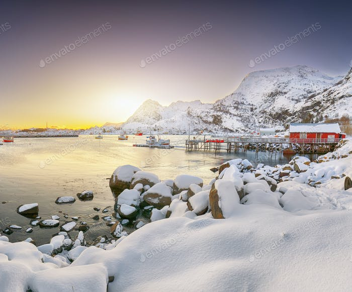 Stunning winter scenery of Moskenes village with ferryport
