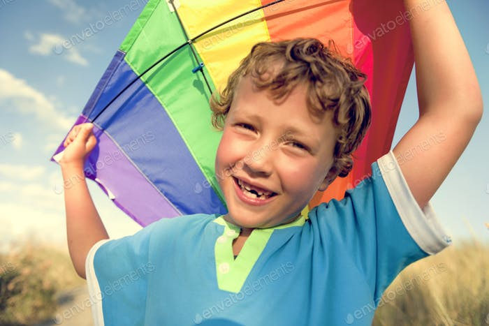 Kite Boy Brother Happiness Joyful Holiday Child Concept