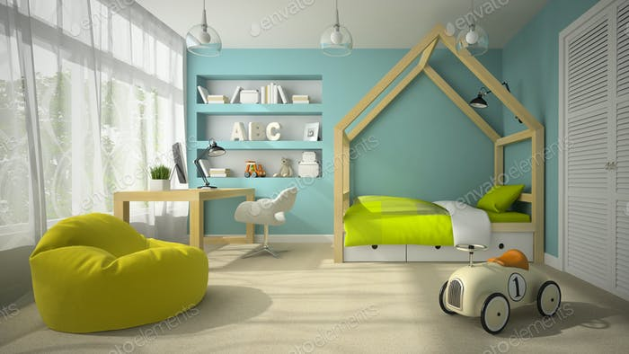 Interior of children room with toy car 3D rendering 2