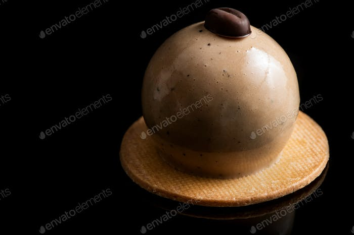 Artisan Monoportion Cake. Handmade Chocolate Dessert. Creative Patisserie. Black Background
