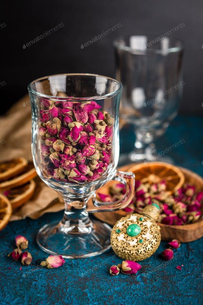 Dry tea rose buds