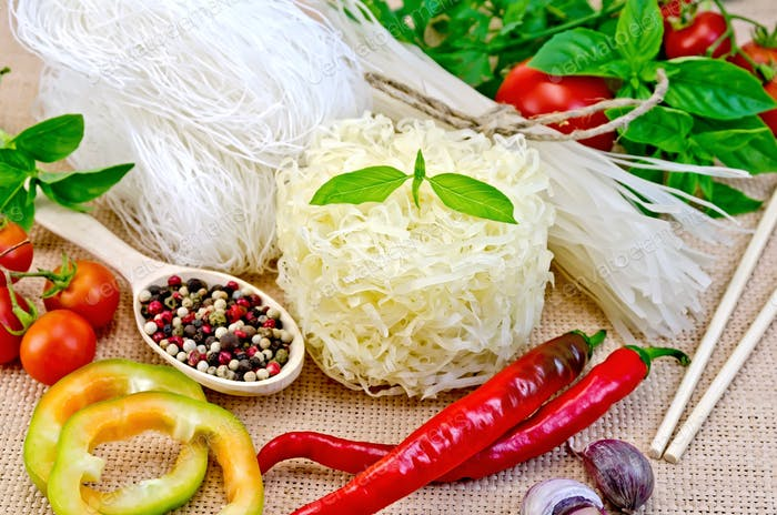 Noodles rice different with peppers and vegetables on sacking