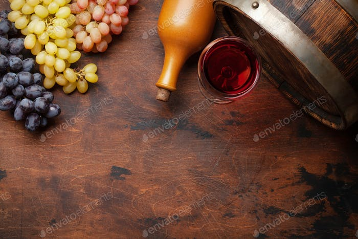 Wine bottle, grapes, glass of wine