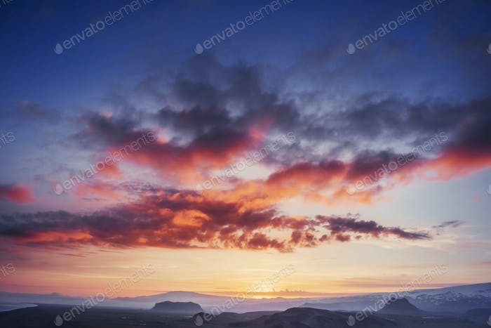 Scenic view of pink sunset