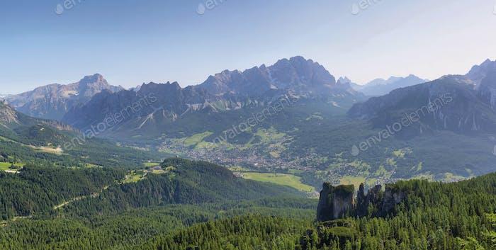 Distant massif of Croda di Lago and Cortina d'Ampezzo, Dolomites, Italy