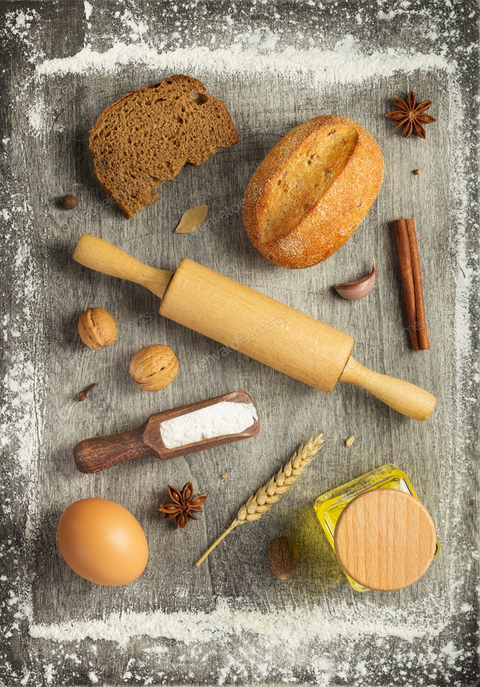 Thumbnail for bakery ingredients on wooden background