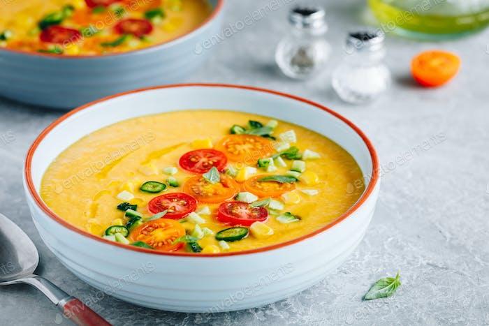 Yellow Tomato Gazpacho. Spanish summer cold soup