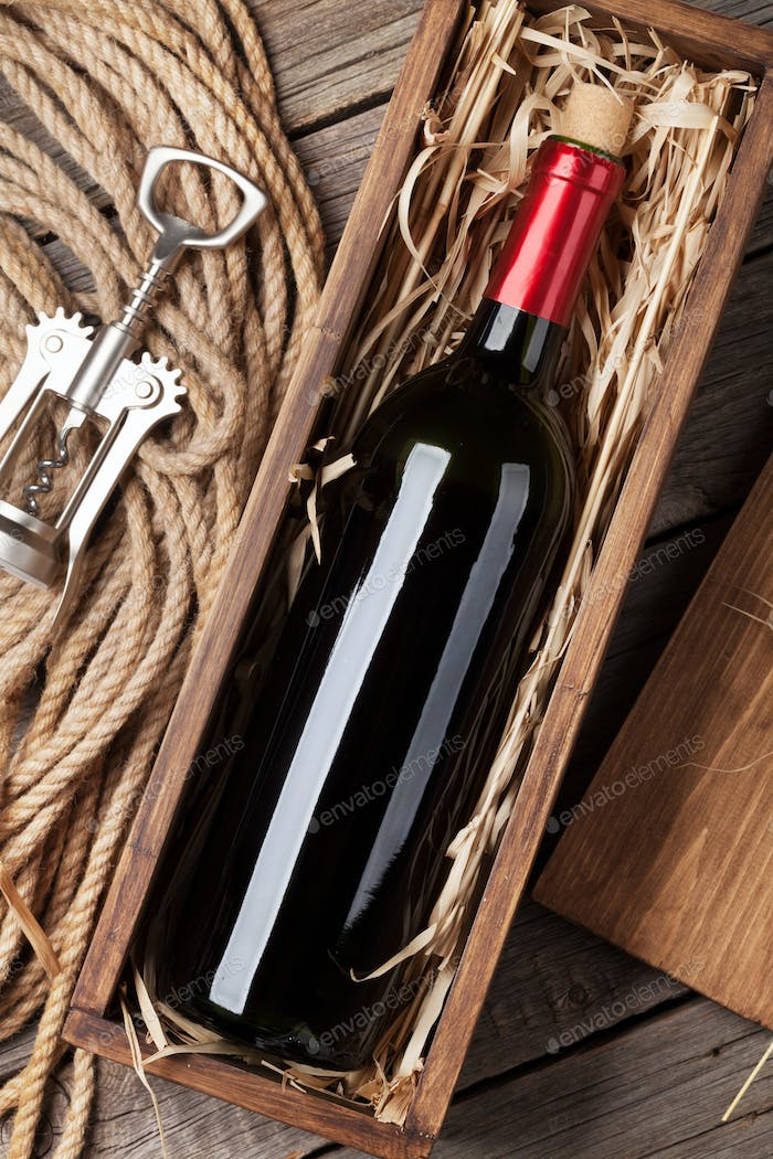 Red wine bottle in box