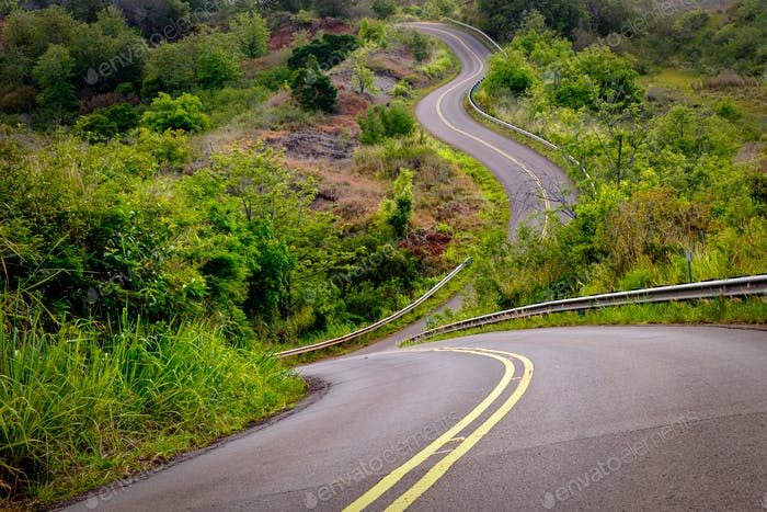 Scenic view of narrow curvy road and rural landscape, Kauai, Hawaii