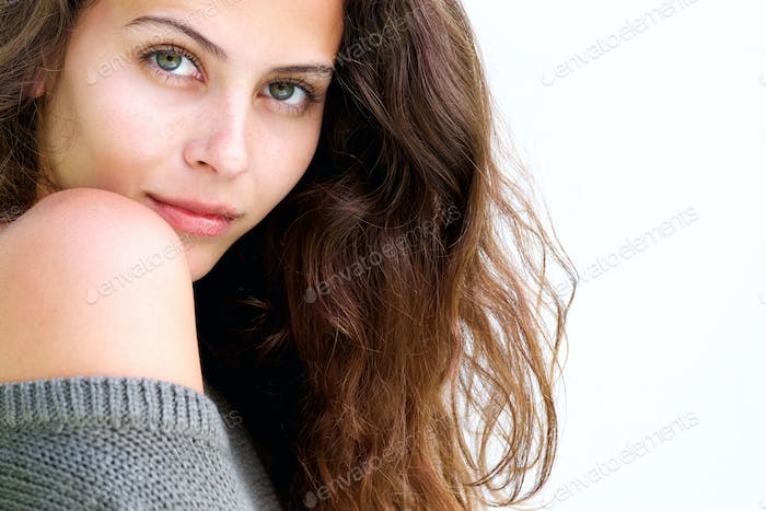 Close up beautiful female fashion model with long hair