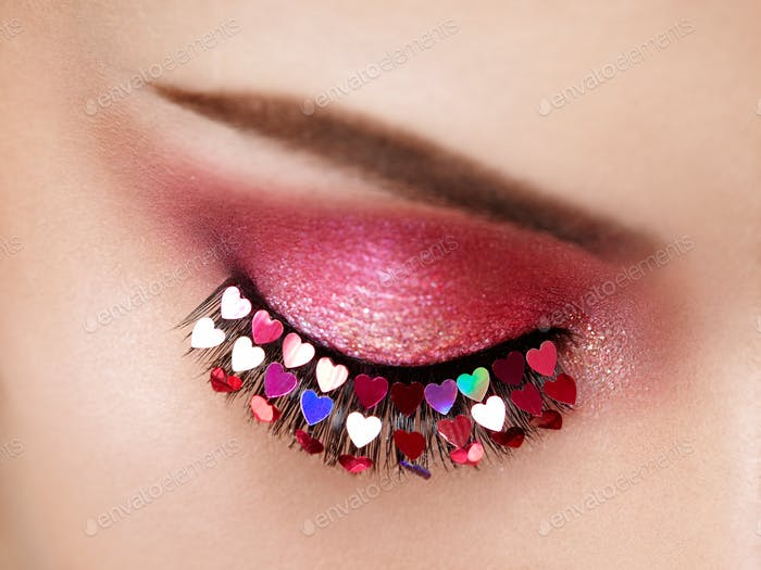 Female eye with Valentine's day makeup
