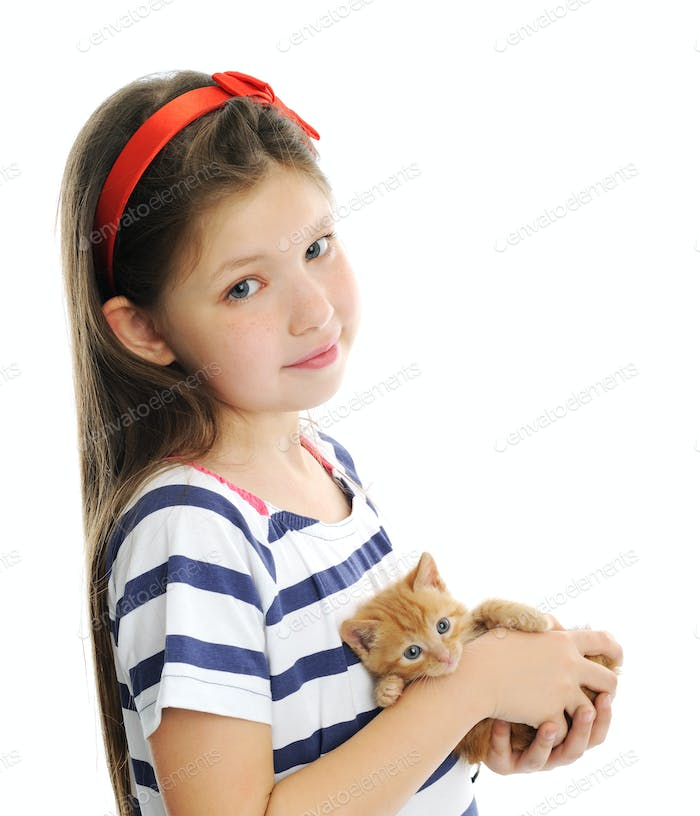 cute girl with red kitty