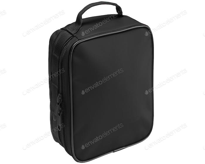 Schwarze Tasche isoliert auf einem weißen Hintergrund.
