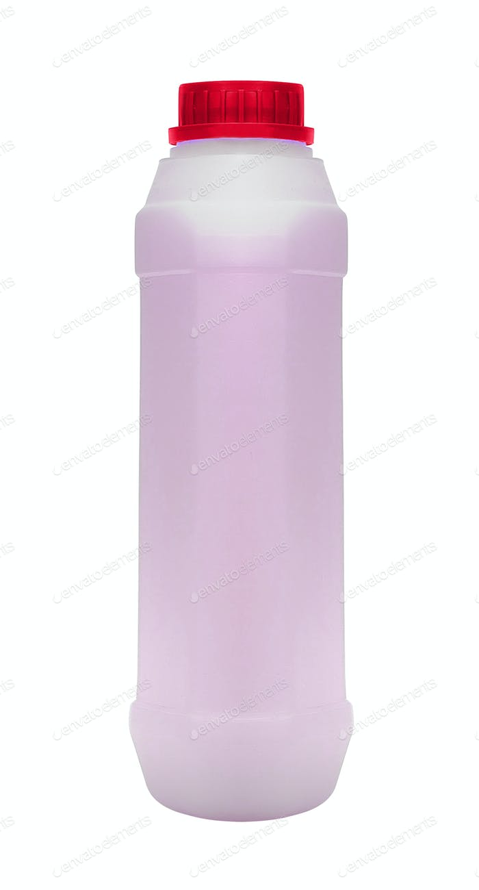 Pink plastic bottle on white background