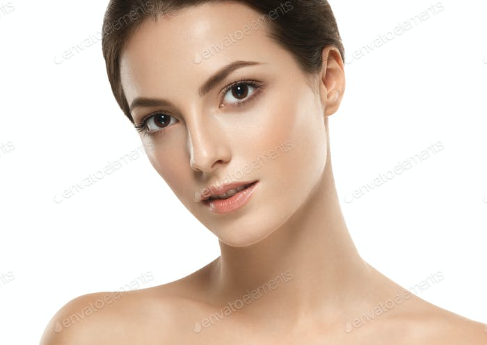 Young beautiful woman portrait with short hair healthy skin studio on white