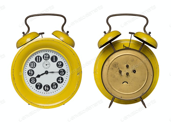 front and back of  alarm clock