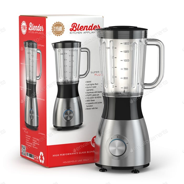 Electric blender with box. Kitchen appliance, equipment isolated