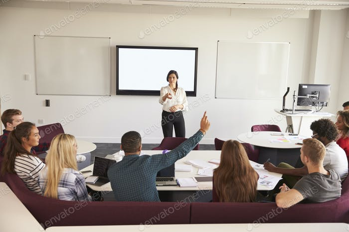 University Students Attending Lecture On Campus