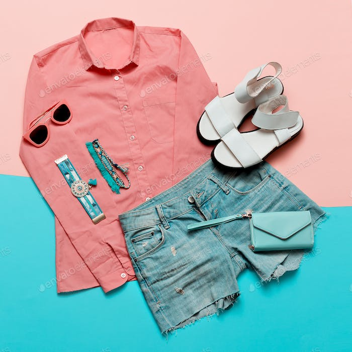 Stylish clothes. Pink jacket and denim shorts. Minimal. White Sa