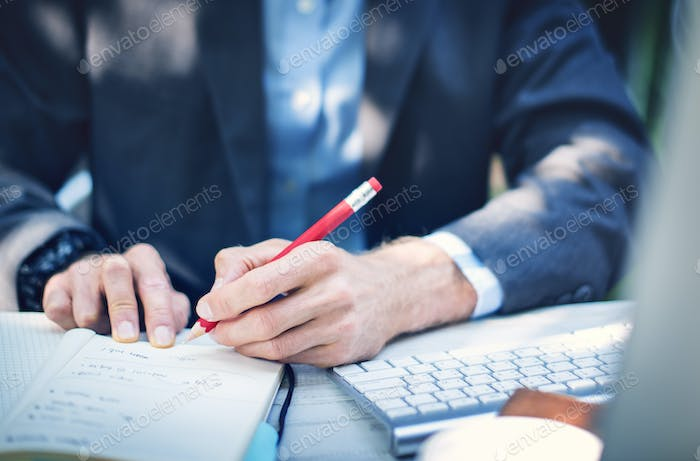 Business Man Hands Writing Notes Concept