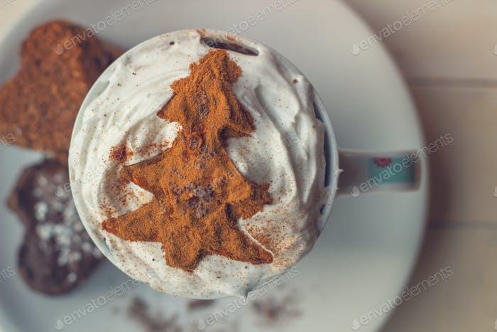 Weihnachtskaffee und Dessert. Weihnachten Hintergrund