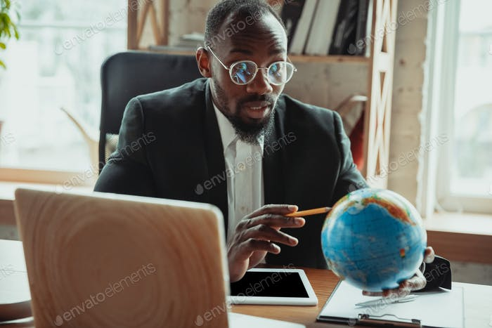 Businessman or student working from home while being isolated or keep quarantine 'cause of
