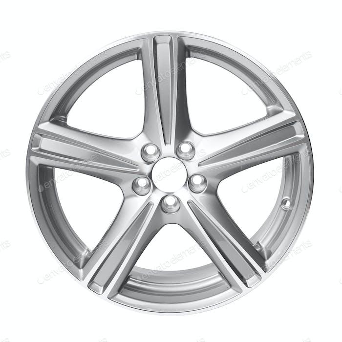 Alloy car wheel rim isolated on white background