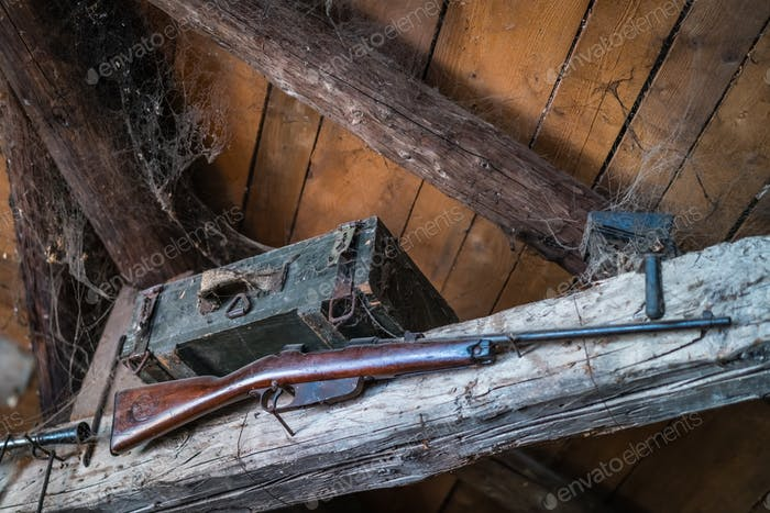 Old hunting rifle  on display