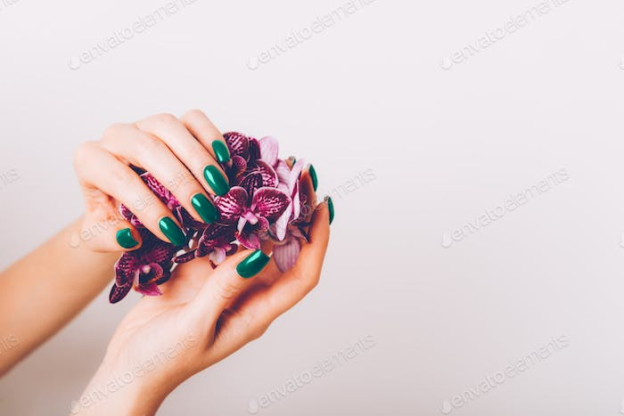 Stylish trendy purple female manicure
