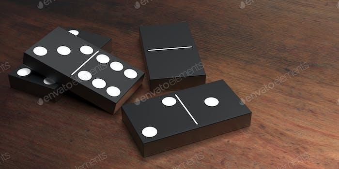 Dominoes game blocks black color on table. 3d illustration